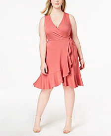 Soprano Trendy Plus Size Ribbed Ruffled Faux-Wrap Dress