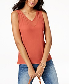 INC Petite Illusion-Trim Tank Top, Created for Macy's