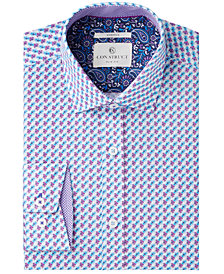 Con.Struct Men's Slim-Fit Stretch Blue/Purple Floral Dress Shirt, Created for Macy's