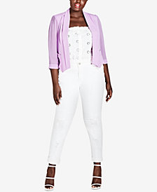 City Chic Trendy Plus Size Pleated Blazer
