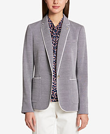 Tommy Hilfiger One-Button Houndstooth Blazer