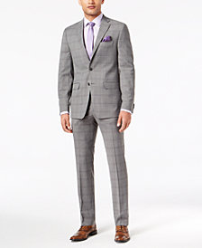 Sean John Men's Slim-Fit Stretch Black/White Windowpane Suit Separates