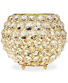"Lighting by Design Glam 8"" Gold-Tone Ball Crystal Tealight Holder"