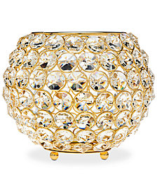 "Godinger Lighting by Design Glam 8"" Gold-Tone Ball Crystal Tealight Holder"