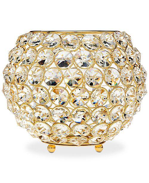 """Godinger Lighting by Design Glam 8"""" Gold-Tone Ball Crystal Tealight Holder"""