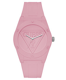 Guess  Iconic Logo Light Pink Silicone Strap Watch 42mm