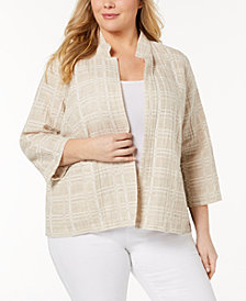 Eileen Fisher Plus Size Organic Cotton Blend Jacket