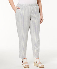 Eileen Fisher Plus Size Organic Cotton Ankle Pants