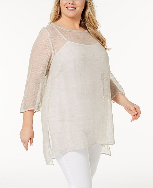 78683735a3 Eileen Fisher Plus Size Organic Linen Mesh Sheer Tunic   Reviews ...