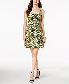 Adrianna Papell Lemon-Print Zip-Front Dress
