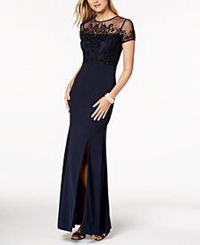 Adrianna Papell Beaded Illusion Slit Gown