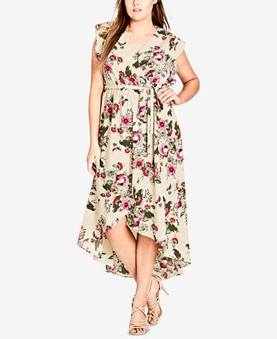 City Chic Trendy Plus Size High-Low Wrap Dress