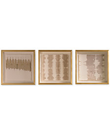 Graham & Brown Natural Golden Tie Dye Framed Print, Set of 3