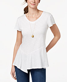 Style & Co Cotton Peplum-Hem T-Shirt, Created for Macy's