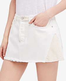 Free People Patched Cotton Denim Mini Skirt