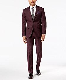 Sean John Men's Slim-Fit Stretch Burgundy Sharkskin Suit Separates