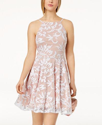 City Studios Juniors' Sequined Mesh Fit & Flare Dress
