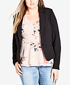 City Chic Trendy Plus Size Lace-Inset Blazer