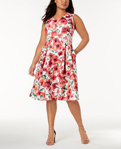 Calvin Klein Plus Size Fit & Flare Pocket Dress