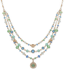 "lonna & lilly Gold-Tone Beaded Multi-Layer Pendant Necklace, 16"" + 3"" extender"