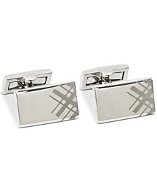 Ryan Seacrest Distinction™ Men's Engraved Plaid Cuff Links, Created for Macy's