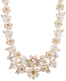 "Marchesa Gold-Tone Crystal Floral Collar Necklace, 16"" + 3"" extender"