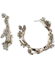Marchesa Gold-Tone Crystal & Imitation Pearl Garden Hoop Earrings