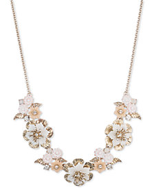"Marchesa Gold-Tone Crystal Flower Statement Necklace, 16"" + 3"" extender"