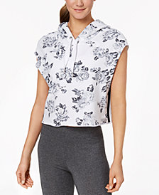 Calvin Klein Performance Rose Printed Sleeveless Cropped Hoodie
