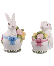 Portmeirion Botanic Garden Terrace Bunny Salt & Pepper Shakers, Set of 2