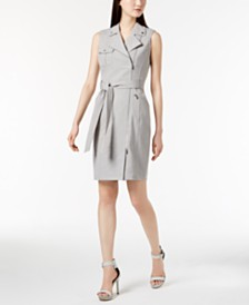 Calvin Klein Cross-Dyed Lux Moto Dress