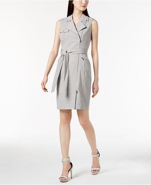 Calvin Klein Cross-Dyed Lux Moto Dress