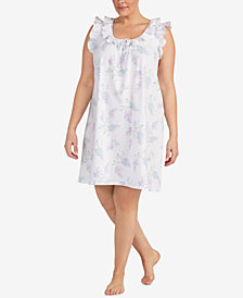 Lauren Ralph Lauren Classic Knits Plus Size Ruffle-Trim Nightgown