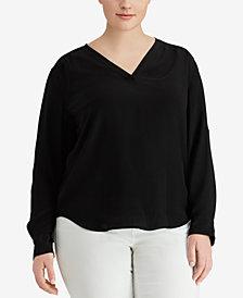 Lauren Ralph Lauren Plus Size Silk Crepe Blouse