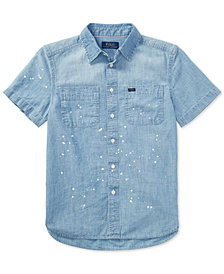 Polo Ralph Lauren Lightweight Chambray Cotton Workshirt, Big Boys