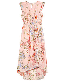 Monteau Faux-Wrap Floral-Print Maxi Dress, Big Girls