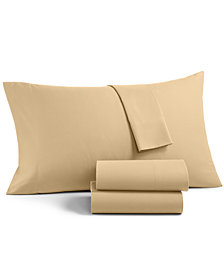 CLOSEOUT! Martha Stewart Essentials Solid Microfiber 4-Pc. Queen Sheet Set, Created for Macy's
