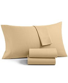 CLOSEOUT! Martha Stewart Essentials Solid Microfiber 4-Pc. Full Sheet Set, Created for Macy's