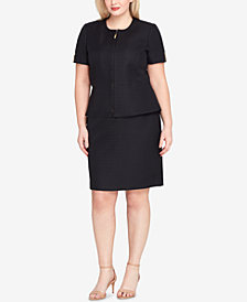 Tahari ASL Plus Size Peplum Skirt Suit