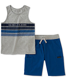 Calvin Klein 2-Pc. Striped Tank Top & Shorts Set, Little Boys