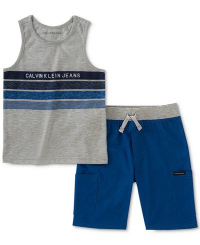 Calvin Klein 2-Pc. Striped Tank Top & Shorts Set, Little Boys