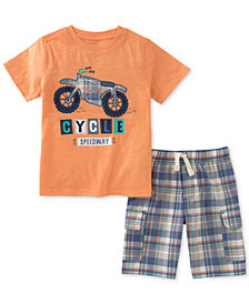 Kids Headquarters 2-Pc. Graphic-Print Cotton T-Shirt, & Plaid Shorts Set, Toddler Boys