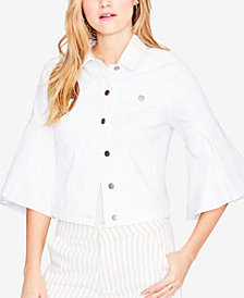 RACHEL Rachel Roy Ruffled-Cuff Denim Jacket, Created for Macy's