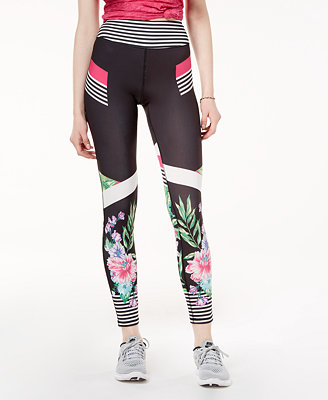 Active Juniors' Printed Cropped Yoga Leggings, Created For Macy's by Material Girl