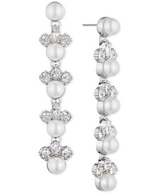 Givenchy Silver-Tone Crystal & Imitation Pearl Linear Drop Earrings