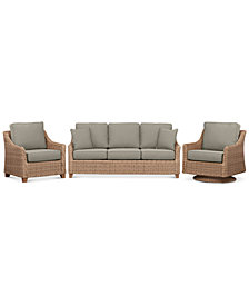 Willough Wicker  3-Pc. Set (1 Sofa, 1 Club Chair, & 1 Swivel Glider) with Custom Sunbrella® Colors, Created For Macy's