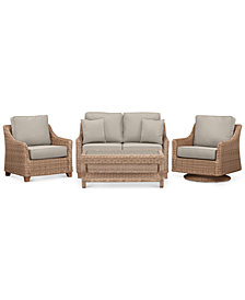 Willough Wicker  4-Pc. Set (1 Loveseat, 1 Swivel Glider, 1 Club Chair & 1 Coffee Table) with Custom Sunbrella® Colors, Created For Macy's