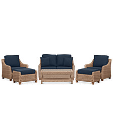 Willough Wicker Outdoor 6-Pc. Set (1 Loveseat, 2 Club Chairs, 1 Coffee Table & 2 Ottomans) with Custom Sunbrella® Colors, Created For Macy's