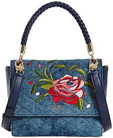 GUESS Heather Denim Top Handle Satchel
