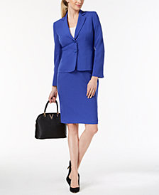 Le Suit Two-Button Crepe Skirt Suit
